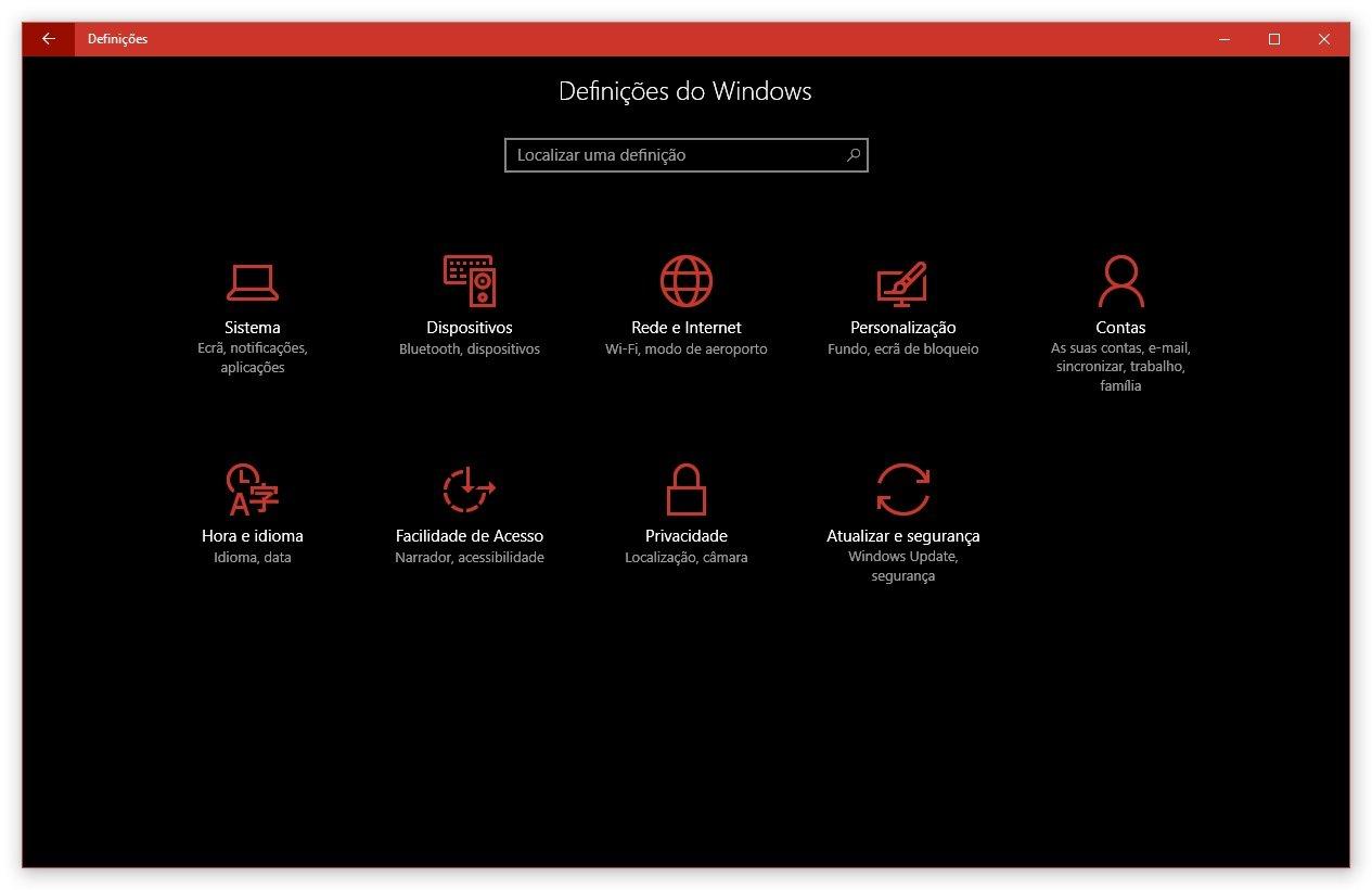 Definições do Windows