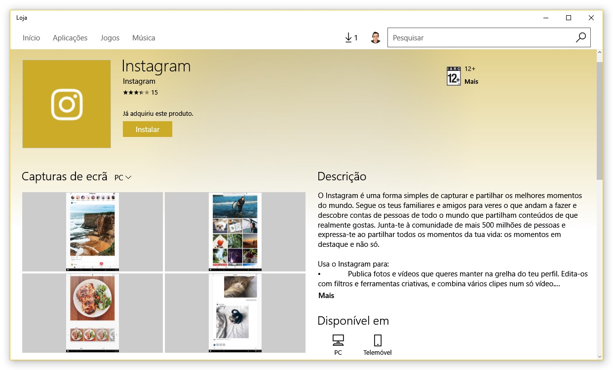 instagram no windows