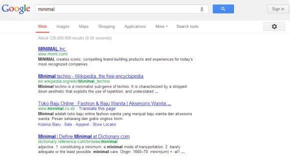 Google sem barra de navegação