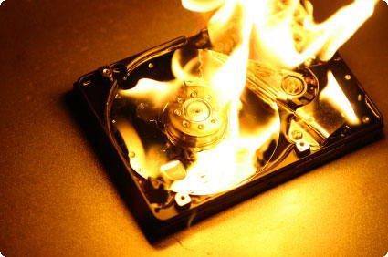 Disco rígido a arder