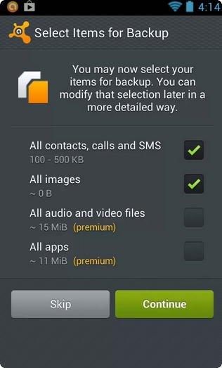 Avast mobile Backup