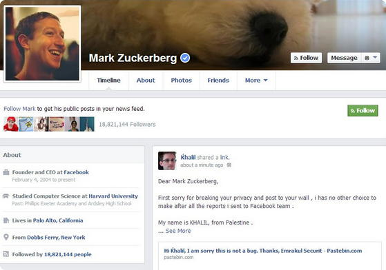 Mark Zuckerberg exploit