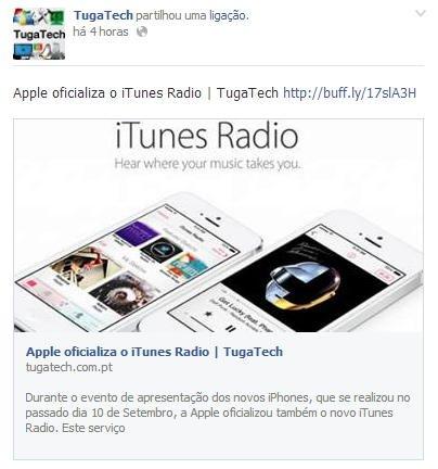 Facebook novos links partilhados