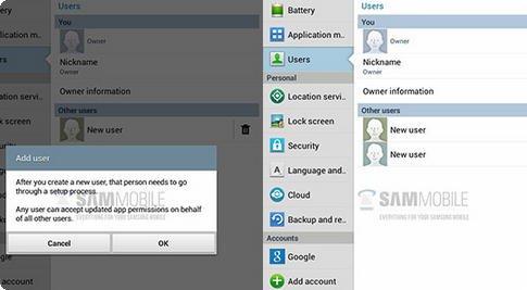 Samsung Galaxy Tab 3 Multi-user