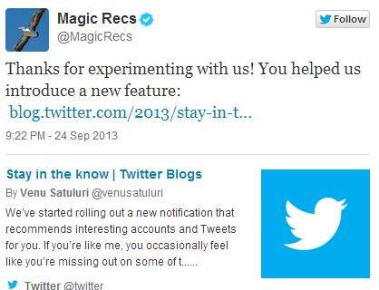 Twitter MagicRecs
