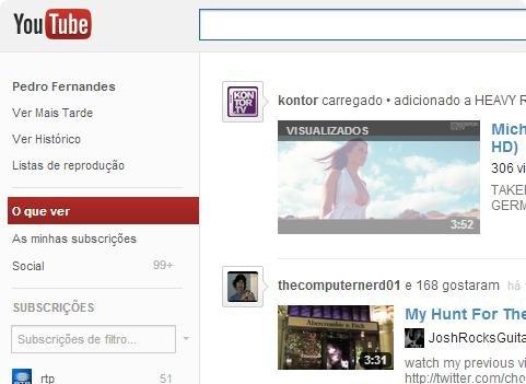 Novo layout do Youtube