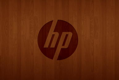 hp logo wood
