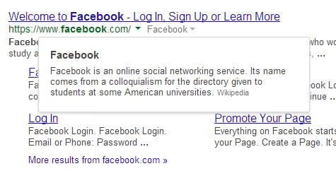 facebook in google search results