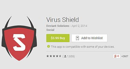 virus shield android app removed