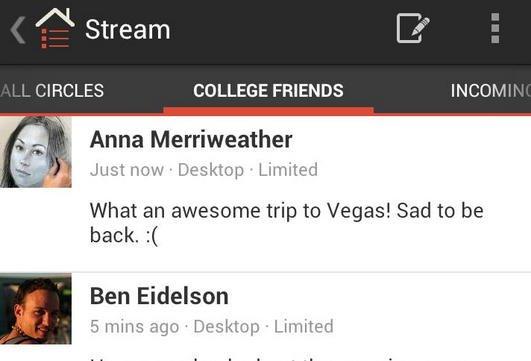google plus android nova interface