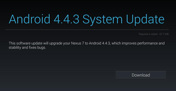 Nexus 7 upgrade android 4.4.3