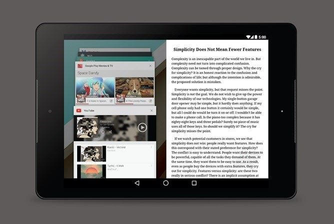 Android ecrã dividido