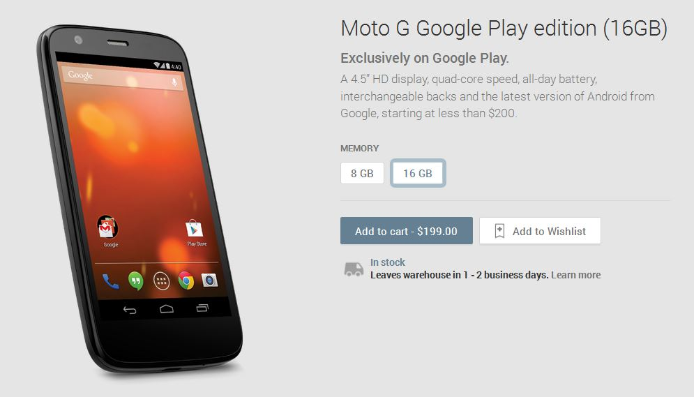 Moto G google play edition
