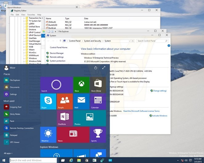 windows 10 iniciar transparente