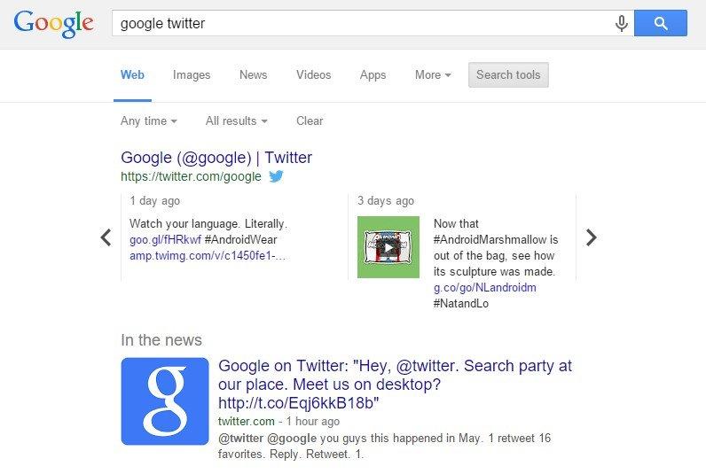 twitter no google