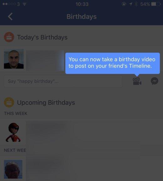 facebook video aniversário