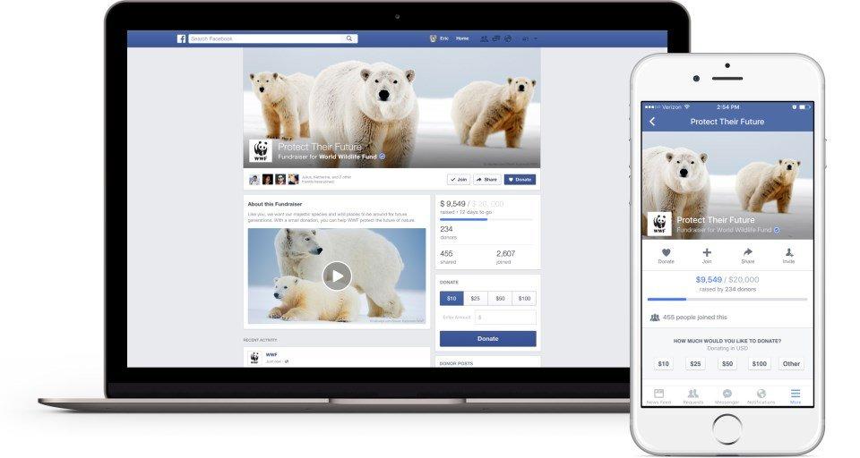 facebook angariação fundos