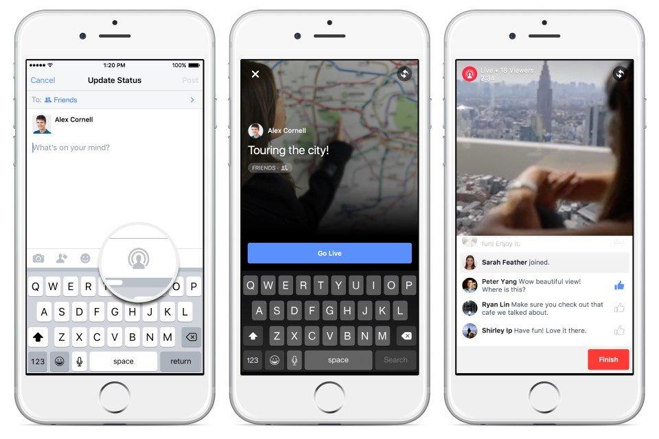 facebook em directo