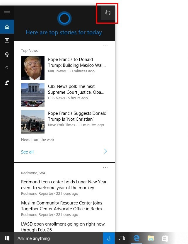 cortana windows 10 mobile