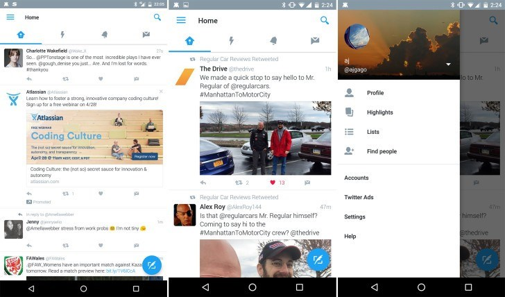 Material Design no twitter