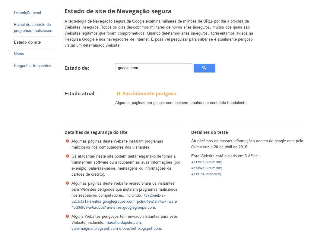 Estado de segurança da Google
