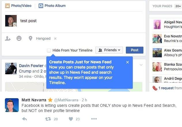 Nova funcionalidade do Facebook