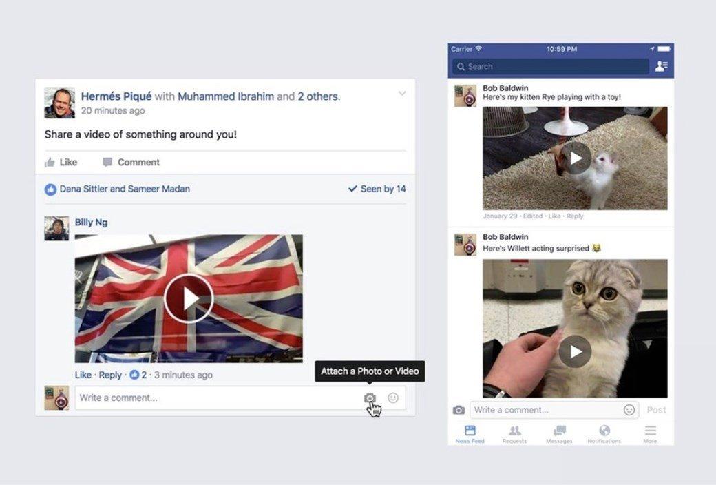 Comentários do Facebook com vídeos