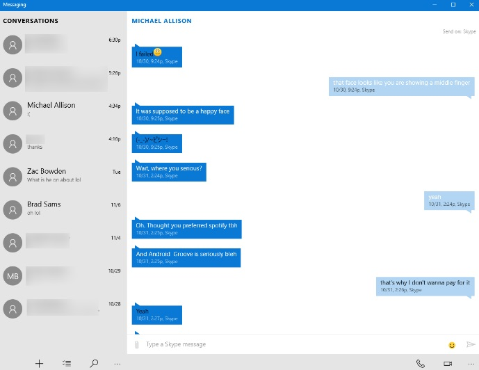 Messaging do Windows 10