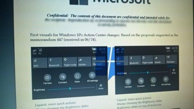 Centro de ações do Windows 10 Mobile
