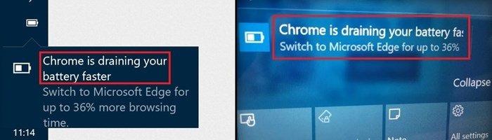 notificação do Windows sobre o chrome