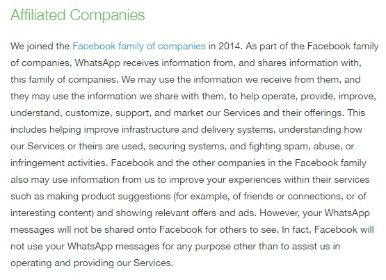 termos de serviço do whatsapp