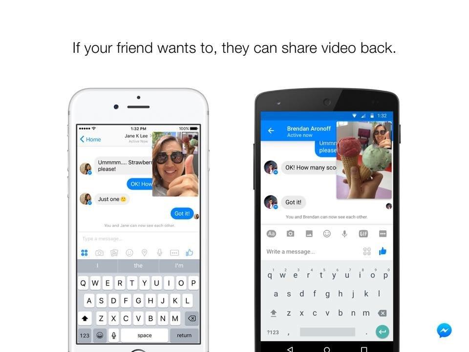 Facebook instant vídeos messenger