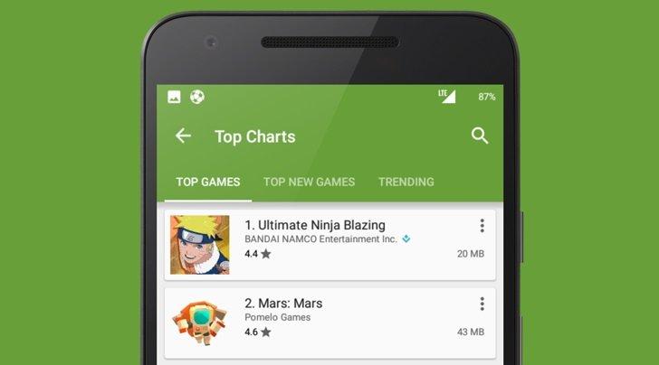 Google Play Store com nova funcionalidade de espaço ocupado
