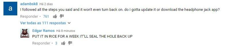 comentários ao video