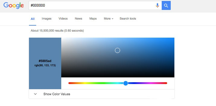 google rgb to hex
