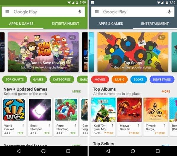 novo design da play store da google