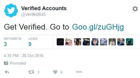 exemplo de tweet promovido malicioso