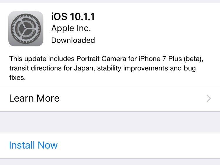 imagem da atualização no iOS