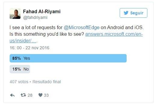 votação sobre o edge no ios e android