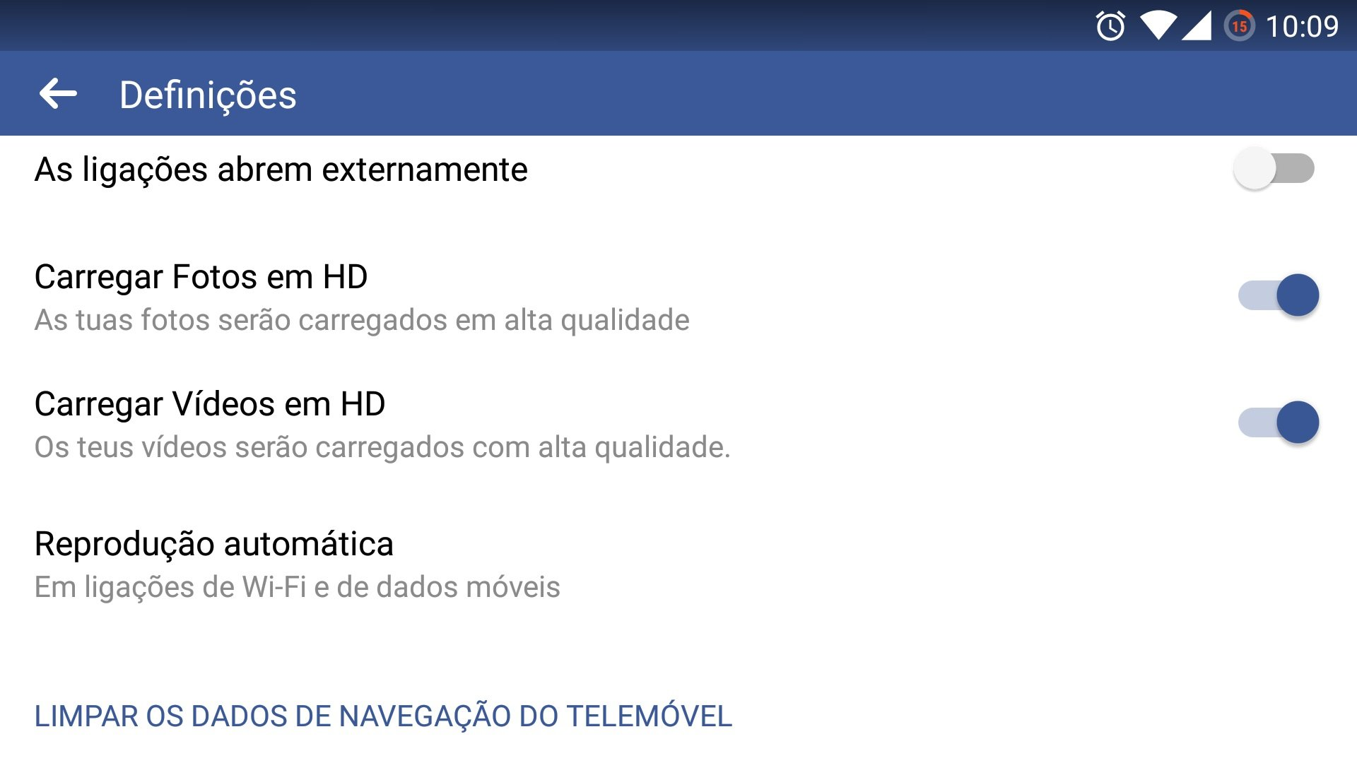 definições do facebook no Android