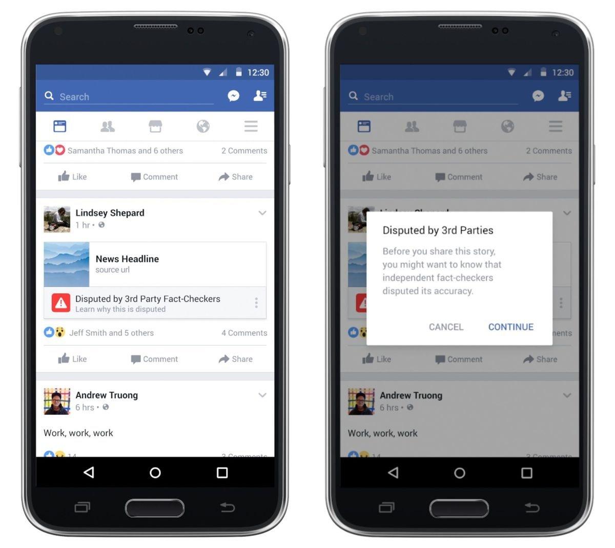 facebook aviso de noticia falsa