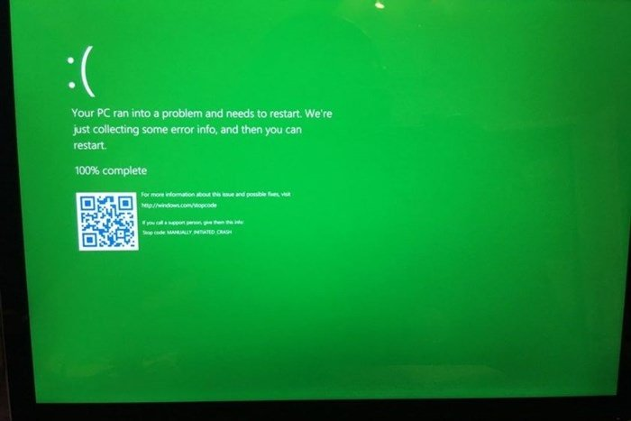 windows 10 erro verde
