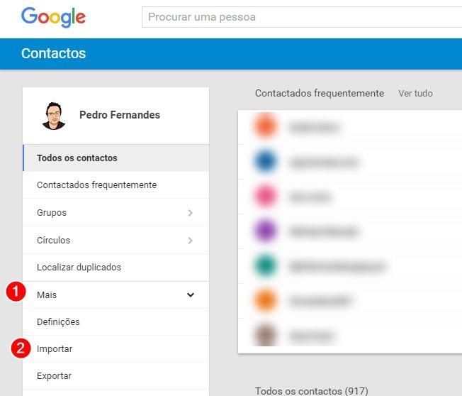 menu do google contacts