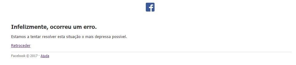 facebook erro