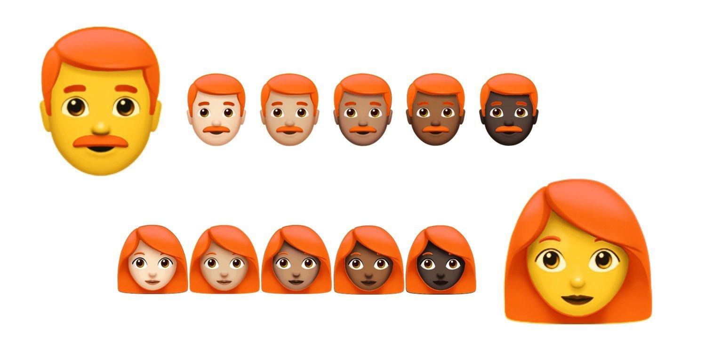 cabelo ruivo em emojis