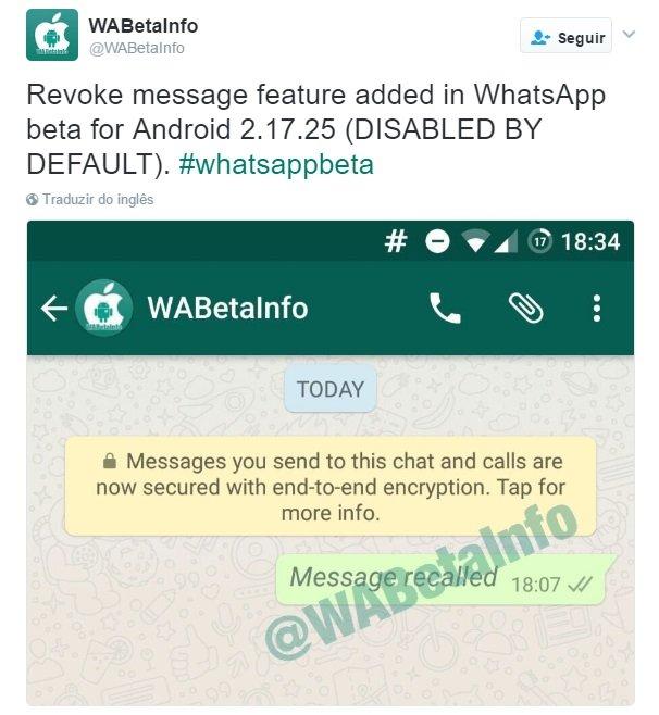 exemplo de mensagem removida no whatsapp