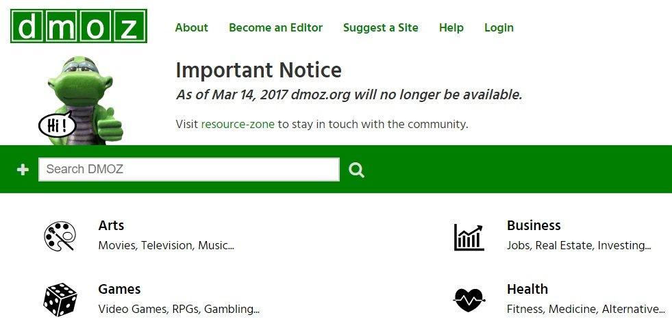DMOZ irá encerrar a 14 de Março