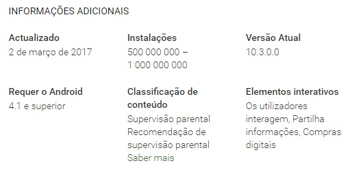 número de downloads na play store