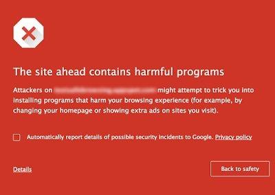 mensagem do malware no chrome