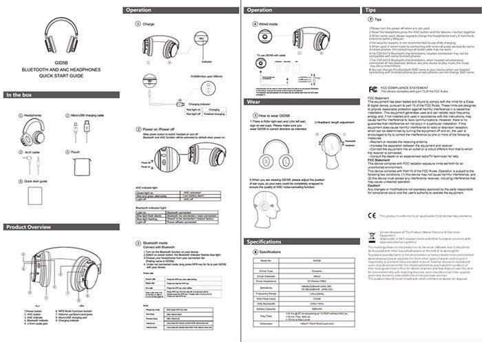imagem do manual dos headphones da Google